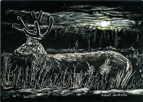Deer in Moonlight by Robert Goudreau