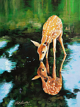 Deer in Reflection by Bill Dunkley