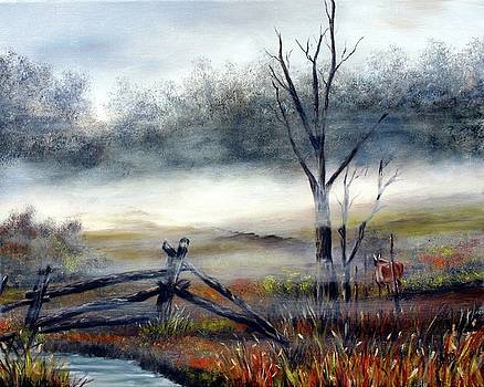 Deer In The Mist by Anna-Maria Dickinson