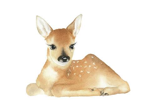 Baby Deer Watercolor by Zapista