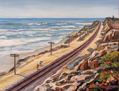 Del Mar Beaches with Tracks and Surfers by Robert Gerdes