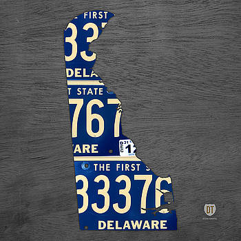 Design Turnpike - Delaware License Plate Map Recycled Vintage Car Tag State Shape Art