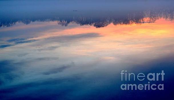Robyn King - Delaware River Abstract Reflections Foggy Sunrise Nature Art