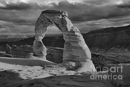 Adam Jewell - Delicate Arch Black And White Sunset Shadow