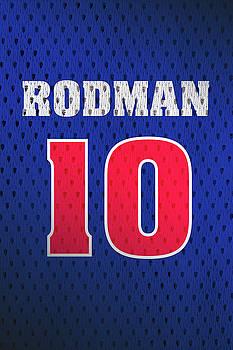 Design Turnpike - Dennis Rodman Detroit Pistons Number 10 Retro Vintage Jersey Closeup Graphic Design