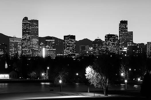 Denver Downtown Skyline - Mile High City - Black White by Gregory Ballos