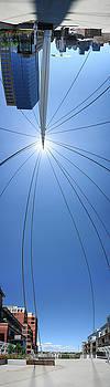 Denver Millennium Bridge Distorted Vertical Panoramic Photogratph by Jeff Schomay
