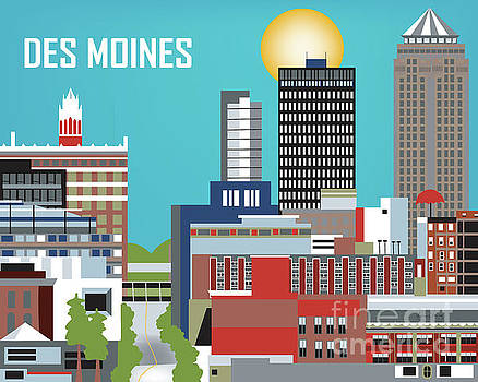 Des Moines Iowa Horizontal Skyline by Karen Young