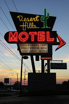 Desert Hills Motel sign at sunrise by Liz Huckleby