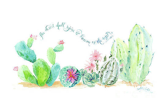 Desert in Bloom 2, Watercolor Desert Cacti n Succulents Inspirational Verse by Audrey Jeanne Roberts