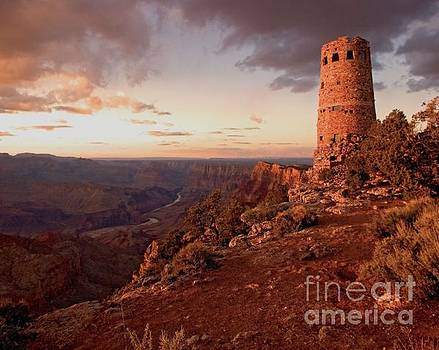 Desert Watchtower at sunset by Larry Sobel