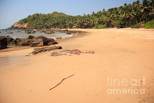 Deserted tropical beach in Goa by Deborah Benbrook