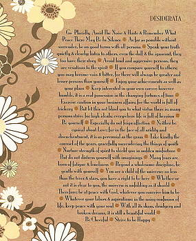 Desiderata by Max Ehrmann with Cheerful 70's Daisies on Organic Paper by Desiderata Gallery