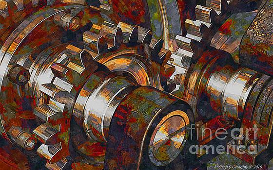 Designer Pumpjack Macro6 - Watercolor - 23032016 by Michael Geraghty