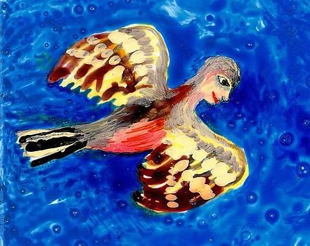 Sushila Burgess - Detail of Bird People Flying Chaffinch