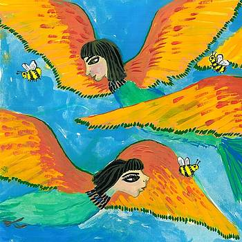 Sushila Burgess - Detail of Bird People Little Green Bee Eaters of Upper Egypt 1
