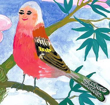 Sushila Burgess - Detail of Bird People the Chaffinch Family Father