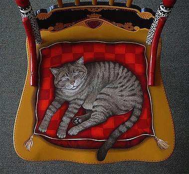 Detail Seat of Painted Cat Chair by Andrea Ellwood