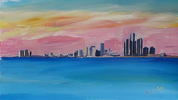 Detroit Michigan Skyline at Lake Erie by M Bleichner