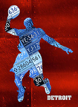 Design Turnpike - Detroit Pistons Basketball Player Recycled Michigan License Plate Art