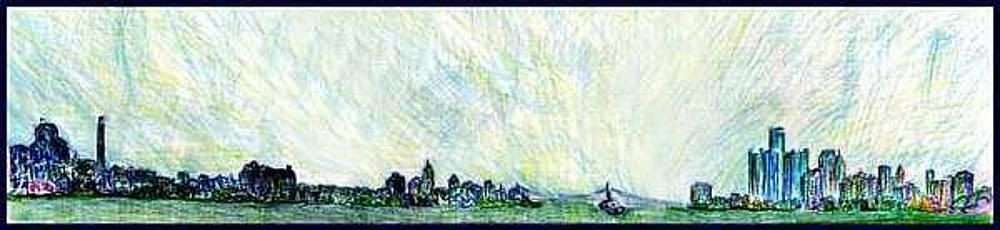 Detroit River Skyline by Don Thibodeaux