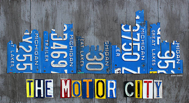 Detroit Skyline Recycled Vintage License Plate Art The Motor City Michigan by License Plate Art and Maps