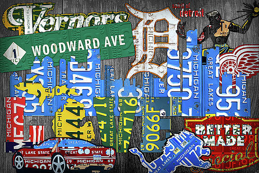Detroit the Motor City Michigan License Plate Art Collage by Design Turnpike