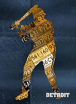 Design Turnpike - Detroit Tigers Baseball Batter Player Recycled Michigan License Plate Art