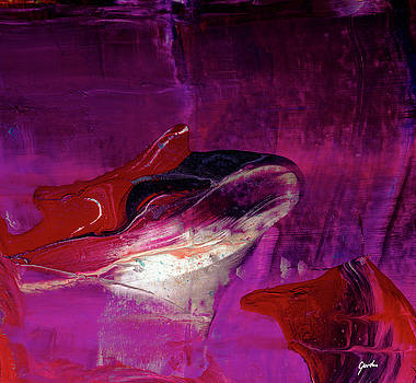 Devilfish Art - Purple Vibrant Underwater Abstract Painting by Modern Abstract