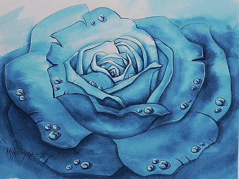 Dew On A Blue Rose-2 by Khromykh Natalia