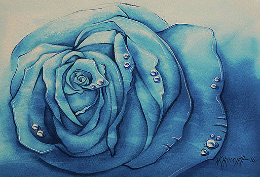 Dew On A Blue Rose-4 by Khromykh Natalia