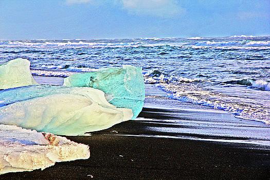 Diamond on Diamond Beach Black Sand Waves Clouds Iceland 2 21120108 1918.jpg by David Frederick