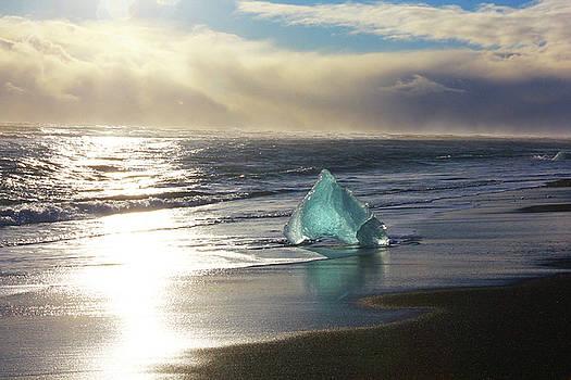 Diamond on Diamond Beach Black Sand Waves Clouds Iceland 2 2192018 2023.jpg by David Frederick