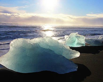 Diamond on Diamond Beach Black Sand Waves Clouds Near Sunset Iceland 2 2162018 1978.jpg by David Frederick
