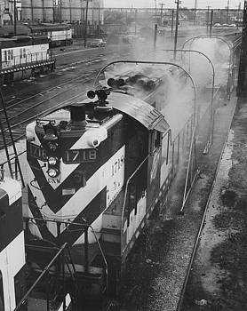 Chicago and North Western Historical Society - Diesel Engine 1715/1718 Goes Through Wash - 1957