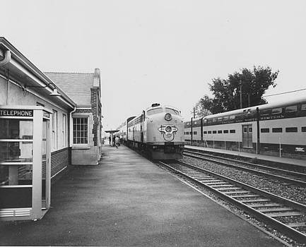 Diesel Engine at Station - 1961 by Chicago and North Western Historical Society