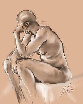 Digital Life Drawing - David 1 by Heidi Rissmiller