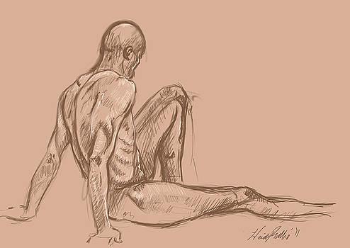 Digital Life Drawing - David 3 by Heidi Rissmiller