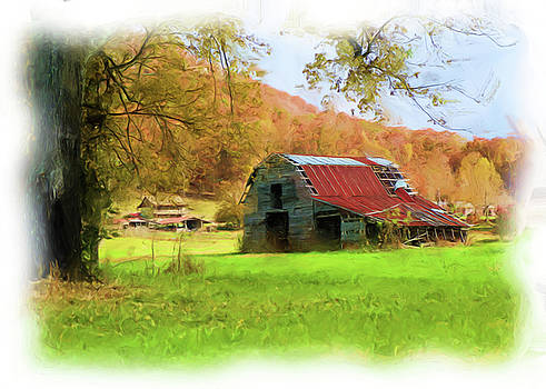 Digital Painting Of A Barn During Fall by Seth Solesbee