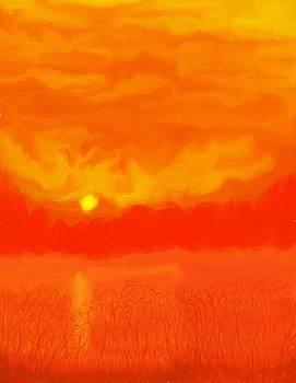 Digital Painting Of Sunset by Debra Lynch