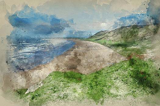 Digital watercolour painting of Beautiful Summer landscape of Rh by Matthew Gibson