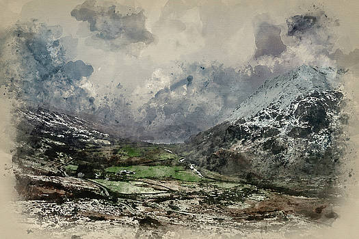 Digital watercolour painting of Beautiful Winter landscape image by Matthew Gibson