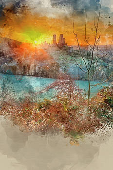 Digital watercolour painting of Corfe Castle Winter sunrise. by Matthew Gibson