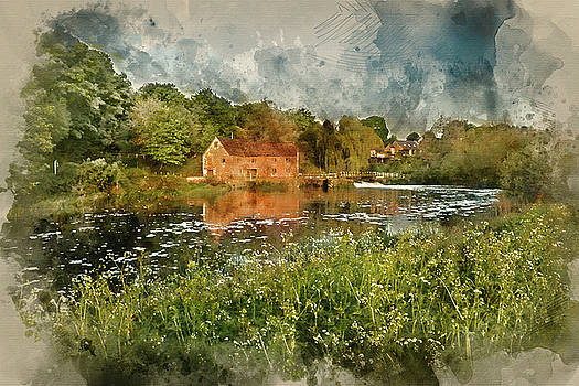 Digital watercolour painting of Early morning landscape across R by Matthew Gibson