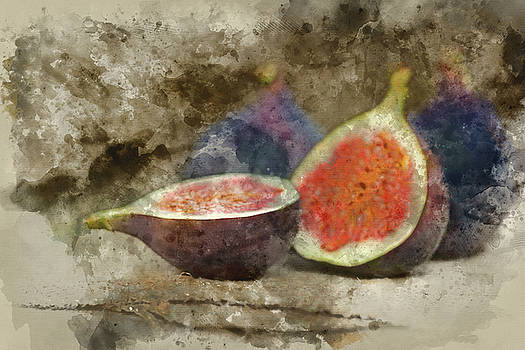 Digital watercolour painting of Fresh figs on hessian napkins on by Matthew Gibson