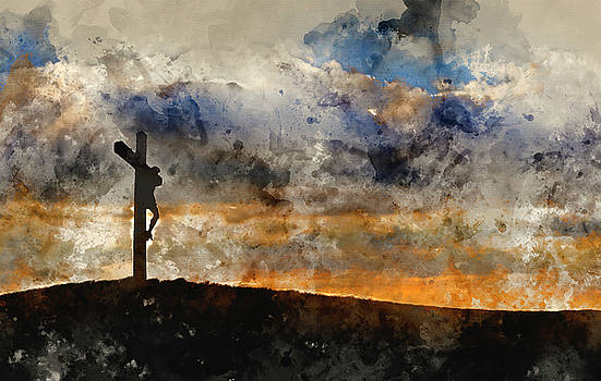 Digital watercolour painting of Jesus Christ Crucifixion on Good by Matthew Gibson