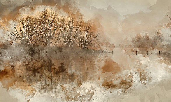 Digital watercolour painting of Landscape of lake in mist with s by Matthew Gibson