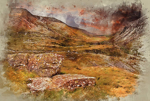 Digital watercolour painting of Moody dramatic mountain sunset l by Matthew Gibson