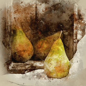 Digital watercolour painting of Pears in rustic kitchen setting  by Matthew Gibson