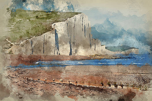 Digital watercolour painting of Seven Sisters Cliffs South Downs by Matthew Gibson